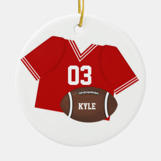 Red Football Jersey and Football Ornament