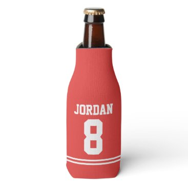Beach Themed Red Football Jersey - Sports Theme Birthday Party Bottle Cooler