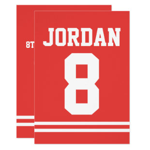 Red Football Jersey - Sports Theme Birthday Party Invitation