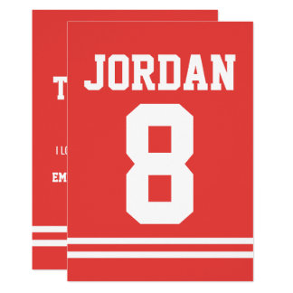 Red Football Jersey Sports Theme Party Thank You Card