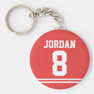 Red Football Jersey with Number Keychain