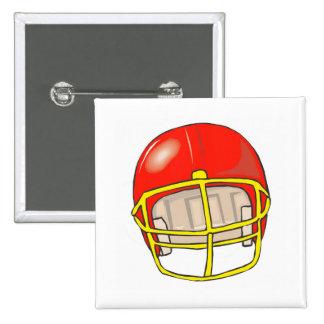 Red football logo helmet buttons
