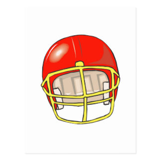 Red football logo helmet postcard