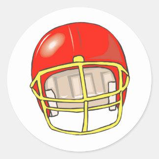 Red football logo helmet classic round sticker