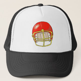 Red football logo helmet trucker hat