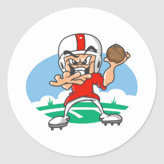 Red Football Player Classic Round Sticker