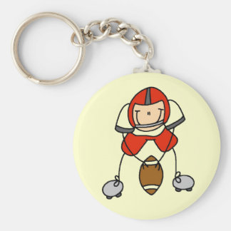 Red Football Player Tshirts and Gifts Basic Round Button Keychain