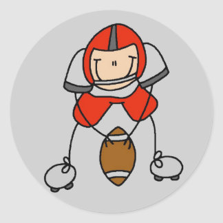 Red Football Player Tshirts and Gifts Classic Round Sticker