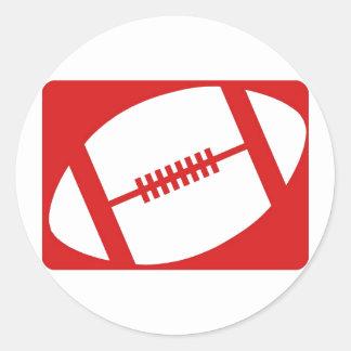 Red Football Classic Round Sticker