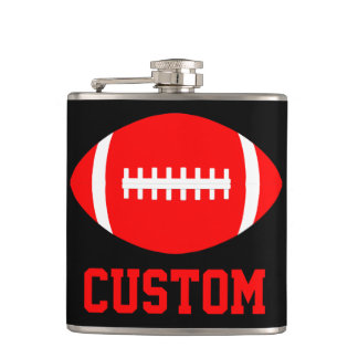 Red Football Team Custom Fan Color & Team Name Flask