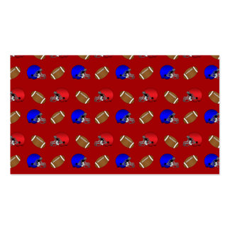 Red footballs helmets pattern business card