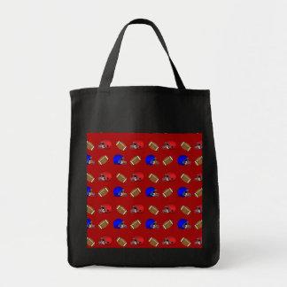 Red footballs helmets pattern grocery tote bag