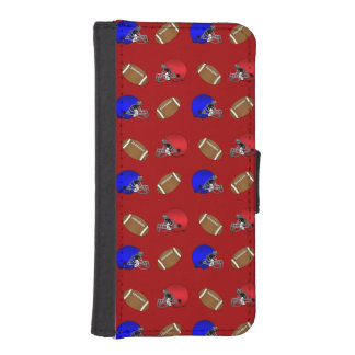 Red footballs helmets pattern iPhone 5 wallet cases