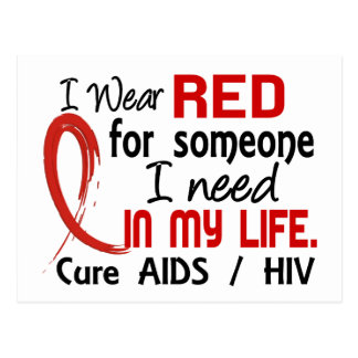 Red For Someone I Need AIDS Postcard