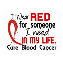 Red For Someone I Need Blood Cancer Postcard