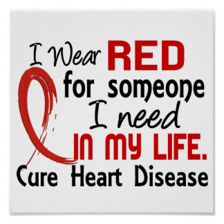 Red For Someone I Need Heart Disease Poster