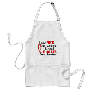 Red For Someone I Need Stroke Adult Apron