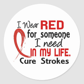 Red For Someone I Need Stroke Classic Round Sticker