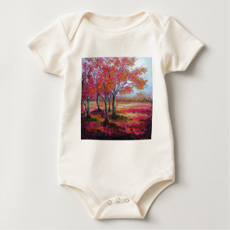 Red forest baby bodysuit