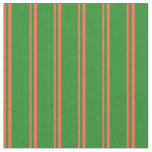 [ Thumbnail: Red & Forest Green Colored Lines/Stripes Pattern Fabric ]
