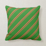 [ Thumbnail: Red & Forest Green Colored Lines/Stripes Pattern Throw Pillow ]