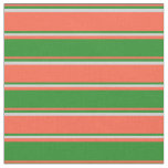 [ Thumbnail: Red, Forest Green & Light Grey Colored Stripes Fabric ]