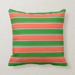 [ Thumbnail: Red, Forest Green & Light Grey Colored Stripes Throw Pillow ]