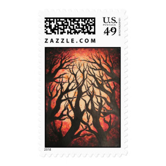 Red forest postage stamp