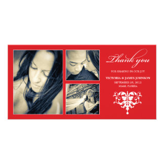 RED FORMAL COLLAGE | WEDDING THANK YOU CARD