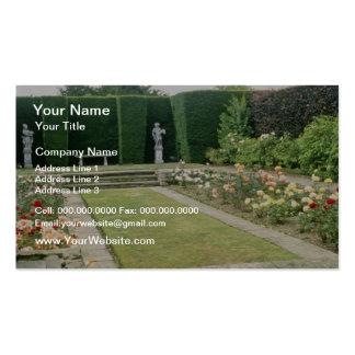 Red Formal Rose Garden With Cultivated Hedge flowe Business Card Template