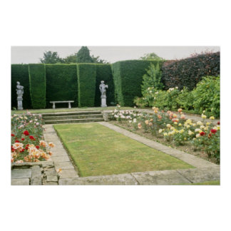Red Formal Rose Garden With Cultivated Hedge flowe Posters