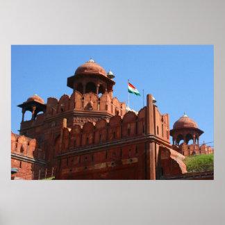 red fort delhi poster