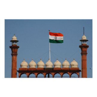 red fort flag poster
