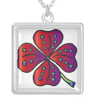 Red Four Leaf Clover Pendant