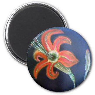 Red Fower 2 Inch Round Magnet