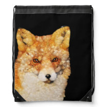 Red Fox Abstract Drawstring Backpack