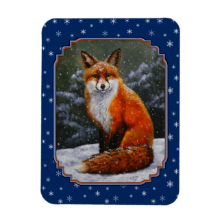 Red Fox and Snowflakes Dark Blue Rectangular Photo Magnet