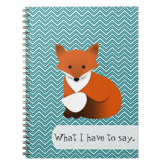 Red Fox and Teal Chevrons Spiral Notebook