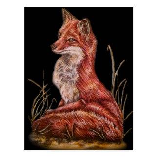 Red Fox Animal Art Drawing Postcard