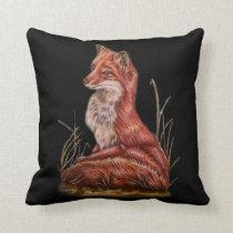 Red Fox Animal Art Drawing Throw Pillow