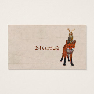 RED FOX & ANTLER OWL  Business Card