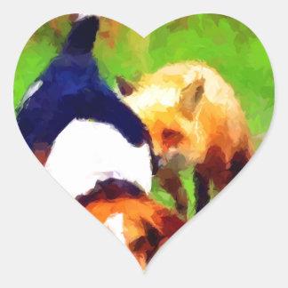 red fox basset hound landscape heart sticker