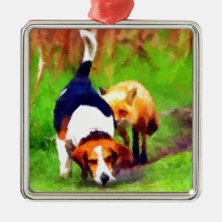 red fox basset hound landscape metal ornament