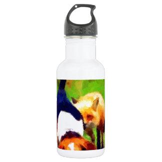 red fox basset hound landscape 18oz water bottle