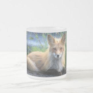 Red fox beautiful photo portrait glass mug, gift frosted glass coffee mug