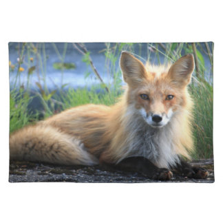 Red fox beautiful photo portrait placemat, gift cloth placemat