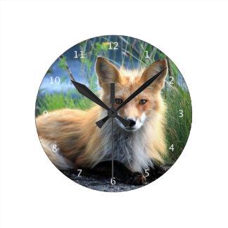 Red fox beautiful photo portrait wall clock, gift round clock
