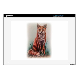 "Red Fox Drawing Animal Art Pencil Sketch 15"" Laptop Skin"
