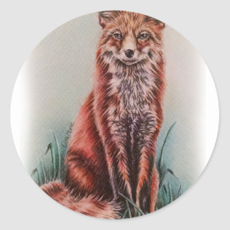 Red Fox Drawing Animal Art Pencil Sketch Classic Round Sticker