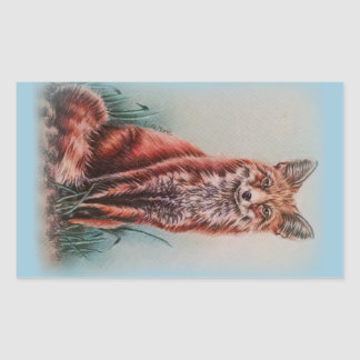 Red Fox Drawing Animal Art Pencil Sketch Rectangular Sticker